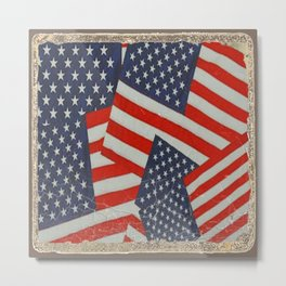 Patriotic Americana Flag Pattern Art #2 Metal Print