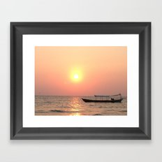 Kiteboarder catching the days fading light Framed Art Print