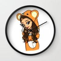 onesie Wall Clocks featuring Bear Onesie by Milou Baars