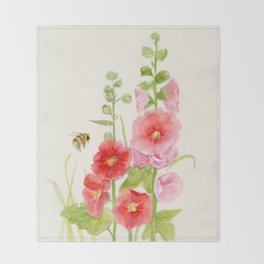 Watercolor Flower Pink Hollyhock and Bee Throw Blanket