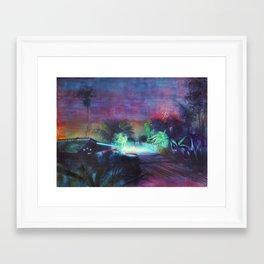 Neontubes & wilderness in Saigon river Framed Art Print