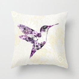 Purple Hummingbird Art Throw Pillow