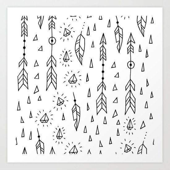 Diamonds, arrows & feathers Art Print