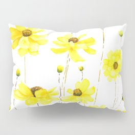 yellow cosmos flowers watercolor Pillow Sham