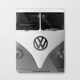Hippie Van - B&W Splittie Metal Print