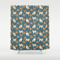 Pug Pizza Party cute pug dog owner gifts food pet gifts puggle puppy dog pet portrait trendy  Shower Curtain
