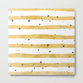 Modern hand painted yellow gold black watercolor splatters stripes Metal Print