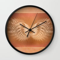 angel wings Wall Clocks featuring Angel Wings by Selina Morgan