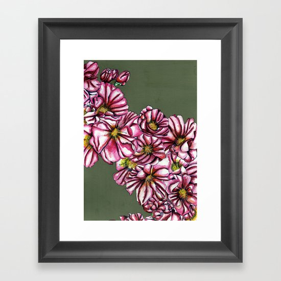 Almond tree flowers Framed Art Print