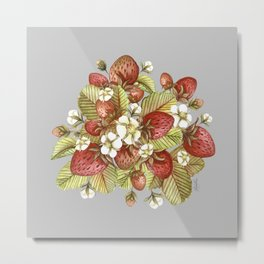 Strawberries Field (gray) Metal Print