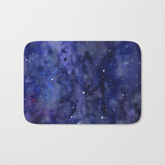 Night Sky Galaxy Nebula Stars Watercolor Space Texture Bath Mat