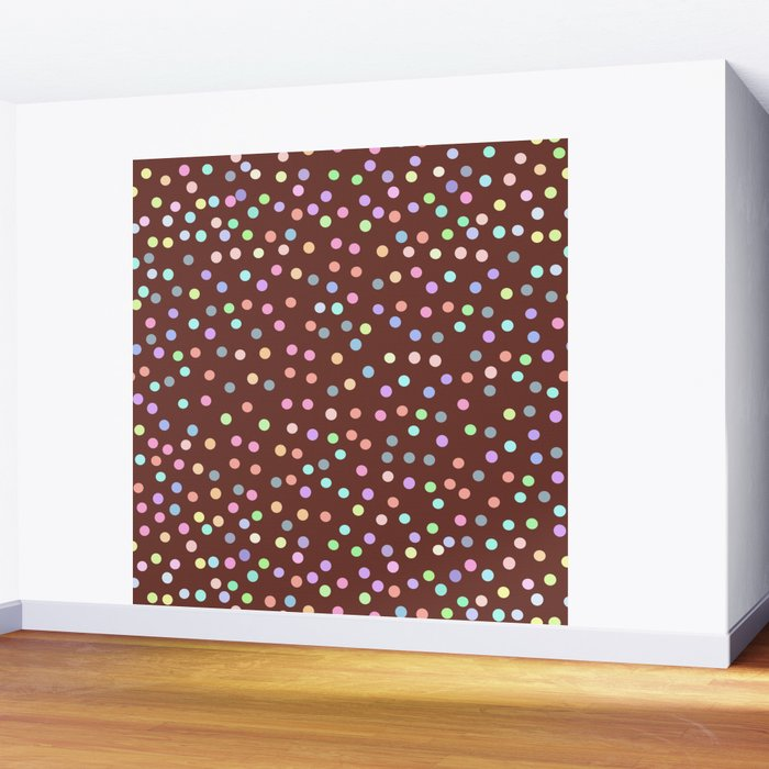 chocolate Glaze with sprinkles. Brown abstract background Wall Mural