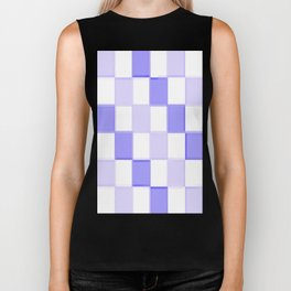 Periwinkle Blue Lavender Checkerboard Biker Tank