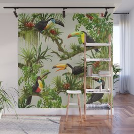 Toucans and Bromeliads (Canvas Background) Wall Mural