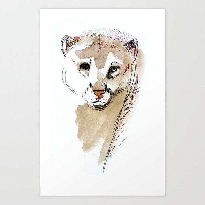Totem Cougar Watercolor Art Print