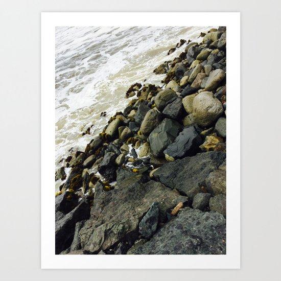 Rocks from a dock Art Print