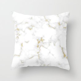 Fine Gold Marble Natural Stone Gold Metallic Veining White Quartz Throw Pillow