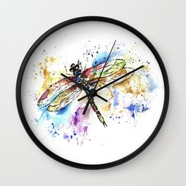 Dragonfly - Rainbow Wings Wall Clock