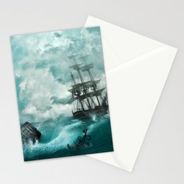 Spectacular Medieval Frigate Sail Ship Stormy Ocean Waves Ultra HD Stationery Cards