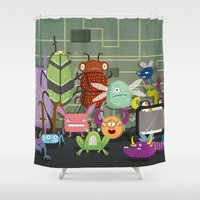 computer Shower Curtains featuring Computer bugs by Fran Court