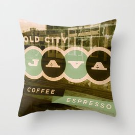 Old City Java Sign in Mint Throw Pillow