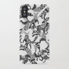 woodland fox party black white iPhone X Slim Case