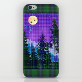 Moonlit Plaid Forest iPhone Skin