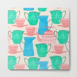 Jugs and Cups Pattern Metal Print