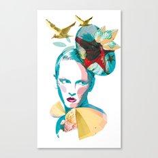 Blue woman, sea and sun Canvas Print