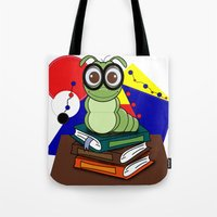 bookworm Tote Bags featuring Bookworm 2 by Charles Oliver