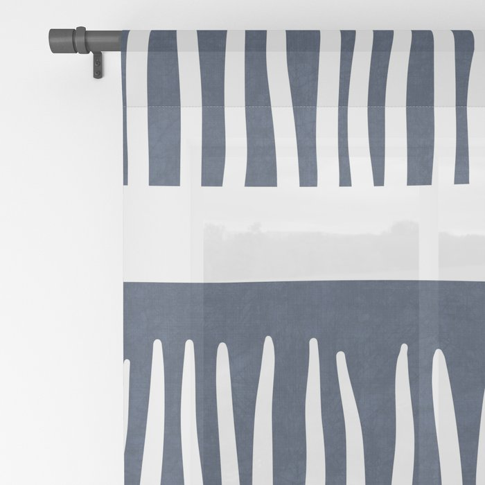 Abstract Blades of Grass in Navy Blue Sheer Curtain