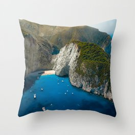 Landscape of the Mediterranean Sea Throw Pillow