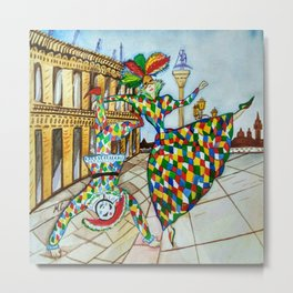 Arlecchino and Colombina. Carnival of Venice. Metal Print