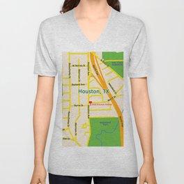 Map of Houston TX #2 Unisex V-Neck