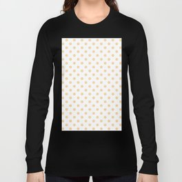 Small Polka Dots - Sunset Orange on White Long Sleeve T-shirt