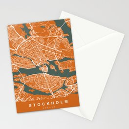 Stockholm Sweden Map | Coffee & Green | More Colors, Review My Collections Stationery Cards