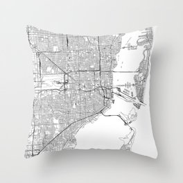Miami White Map Throw Pillow