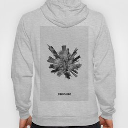Chicago, Illinois Black and White Skyround / Skyline Watercolor Painting Hoody