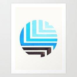 Cerulean Blue Circle Round Framed Mid Century Modern Aztec Geometric Pattern Maze Art Print