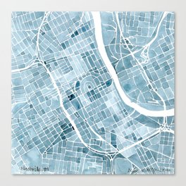Map Nashville Tennessee Blueprint City Map Canvas Print