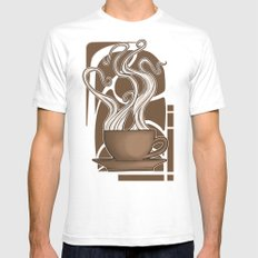 Coffee Nouveau White Mens Fitted Tee SMALL