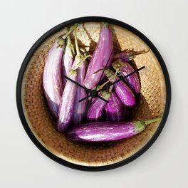 Asian Eggplant in a Basket Wall Clock