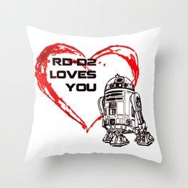 R2 -D2 Loves You Throw Pillow