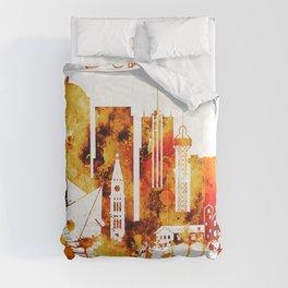 Denver Colorado Red Yellow Skyline Comforters