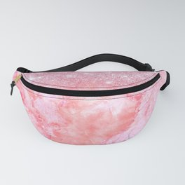 Sparkly Pink Rosegold Glitter Blush Marble Fanny Pack