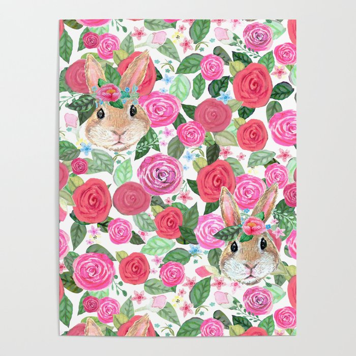 spring floral bunny hiding Poster