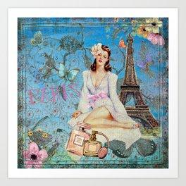 Paris - mon amour - Fashion Girl In France Eiffel tower Nostalgy - French Vintage Art Print