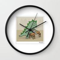 dinosaur Wall Clocks featuring Dinosaur by Masonic Comics