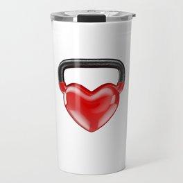 Kettlebell heart vinyl / 3D render of heavy heart shaped kettlebell Travel Mug