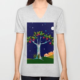 A Traditional Pomegranate Tree in Israel at Nigh Unisex V-Neck